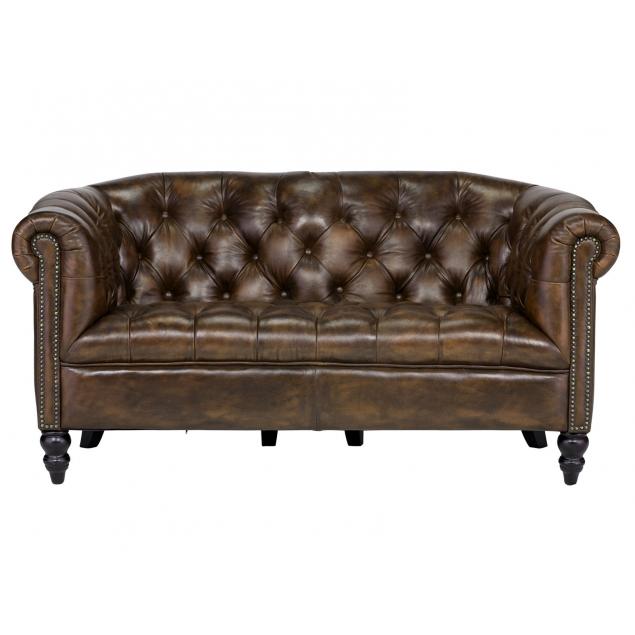 Elegantní kožená 2místná pohovka Chesterfield