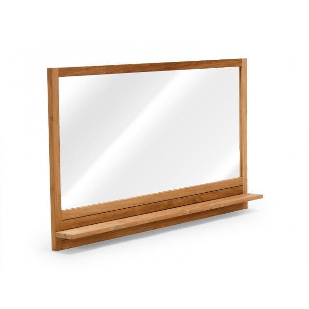 Velké koupelnové zrcadlo s policí z teaku Aqua