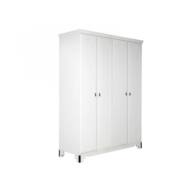 4 dveřová šatní skříň bílá Constantin