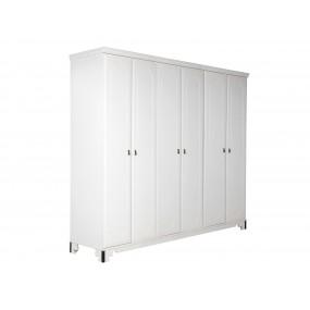 Bílá šatní skříň 6dveřová Constantin