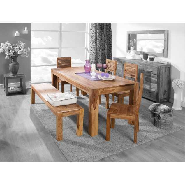 Jídelní stůl světlý se 4 židlemi a lavicí Rosewood