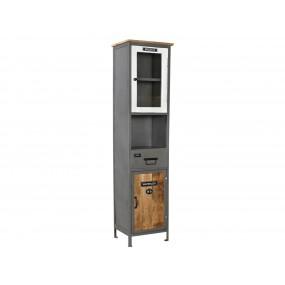 Vysoká skříňka do koupelny z kovu a dřeva Hometown