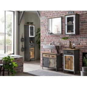 Koupelnový set z kovu a dřeva Hometown