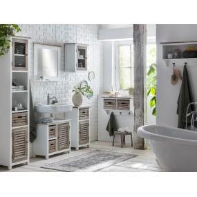 Bílé koupelnové zrcadlo Sunny