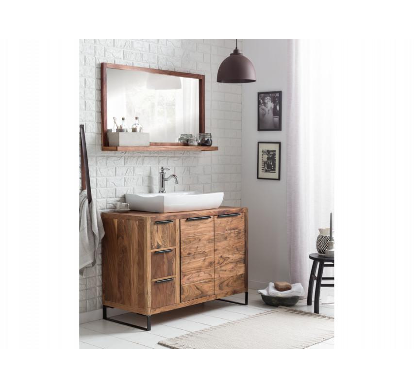 Set skříňka pod umyvadlo+koupelnové zrcadlo z akácie Victoria 105 cm