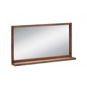 Masivní tmavé dřevěné široké koupelnové zrcadlo z akátu Victoria 105 cm