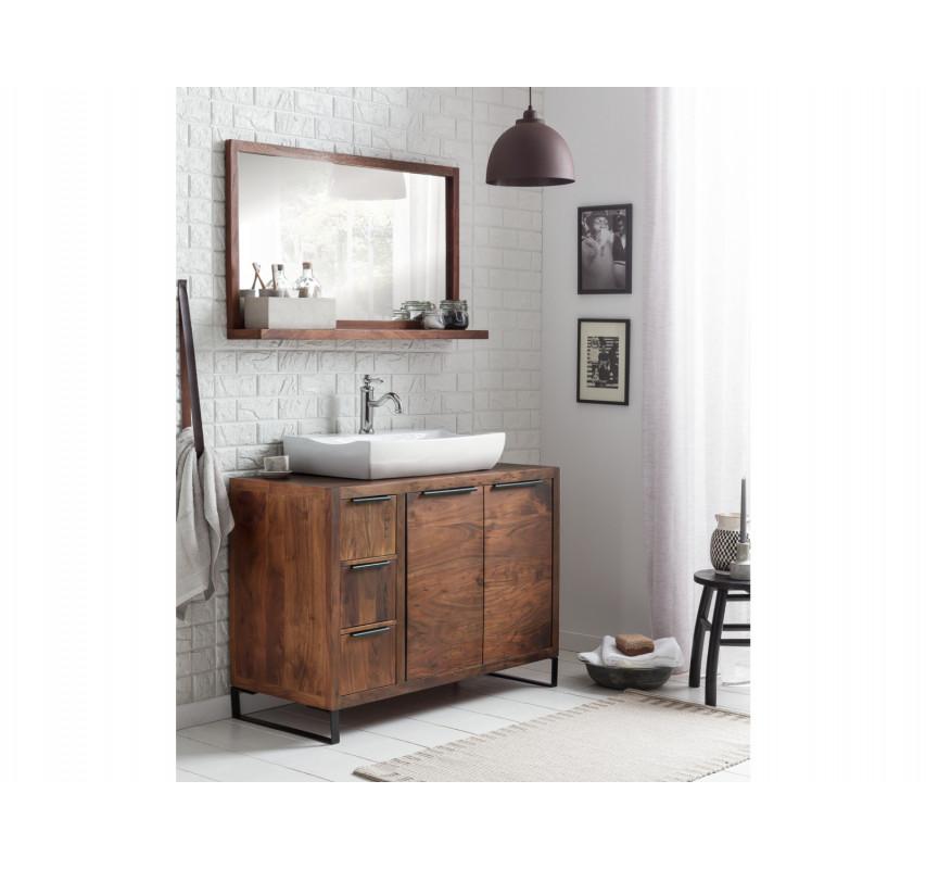 Set skříňka pod umyvadlo+koupelnové zrcadlo z tmavé akácie Victoria 105 cm