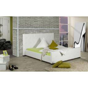 Bílá postel z umělé kůže...