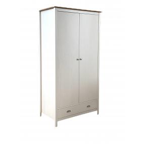 Dvoudveřová bílá šatní skříň z masivní borovice Jade