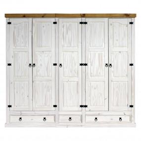 Masivní skříň 5 dveřová bílý vosk CORONA