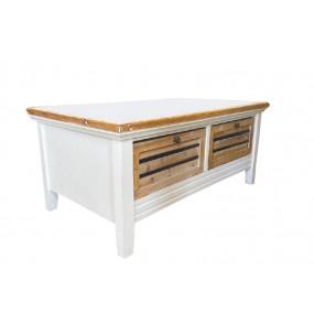 Konferenční stolek 100x60 z paulovnie Blanche 2 šuplíky