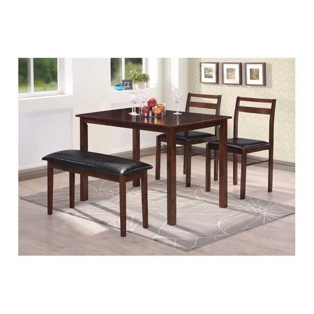 Hnědý jídelny set - stůl se 2 židlemi a lavicí
