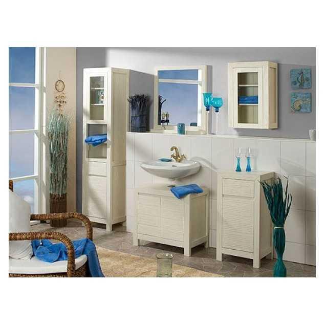 Koupelnový set z borovicového dřeva bílý Eufrat