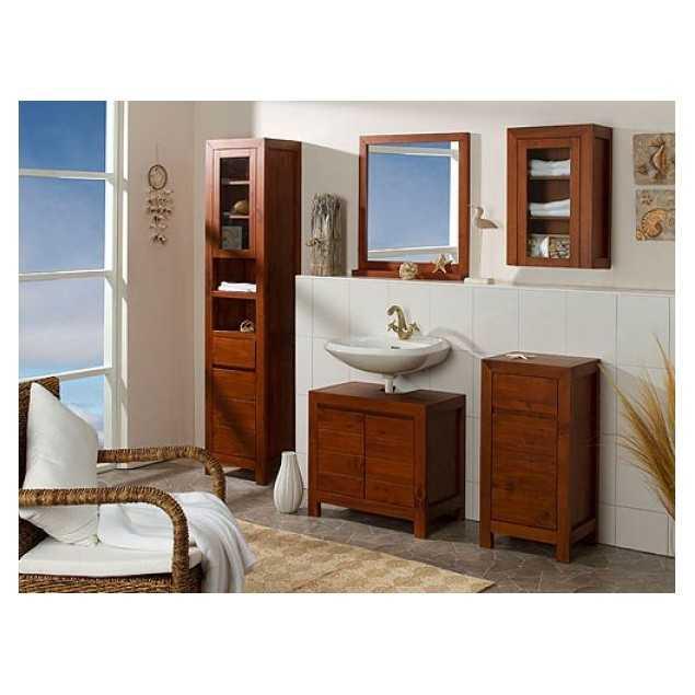 Koupelnový set z borovicového dřeva hnědý Eufrat